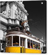 Lisbon's Typical Yellow Tram In Commerce Square Acrylic Print