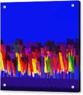 Lisse - Tulips Colors On Blue Acrylic Print