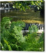 Listen To The Babbling Brook - Green Summer Zen Acrylic Print