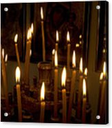 lit Candles in church  Acrylic Print