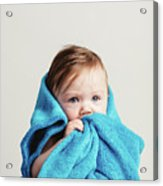 Little Baby Girl Tucked In A Cozy Blue Blanket. Acrylic Print