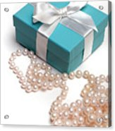 Little Blue Gift Box And Pearls Acrylic Print