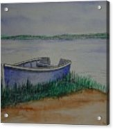 Little Blue Skiff Acrylic Print by Ron Sylvia