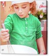 Little Boy Making Christmas Cookies Acrylic Print