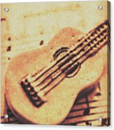 Little Carved Guitar On Sheet Music Acrylic Print