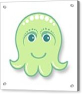 Little cute green octopus Acrylic Print