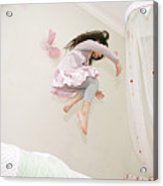 Little Girl Dancing And Jumping On Her Bed Acrylic Print