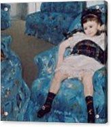 Little Girl In A Blue Armchair Acrylic Print by Mary Stevenson Cassatt