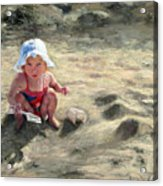 Little Girl Playing By Herself Acrylic Print