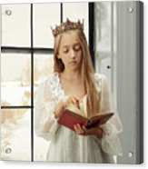 Little Girl Reading Book Acrylic Print