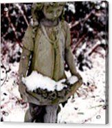Little Girl Sculpture In The Snow Acrylic Print