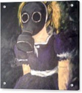 Little Girl Wear Gas Mask Acrylic Print