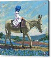 Little Girl With A Blue Bonnet Acrylic Print