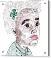 Little Girl With A Green Bow Acrylic Print