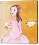 Little Girl With Her Hen Acrylic Print