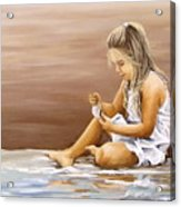 Little Girl With Sea Shell Acrylic Print