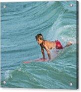 Little Guy Big Wave Acrylic Print