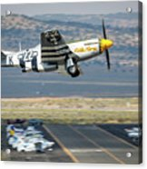 P51 Mustang Little Horse Gear Coming Up Friday At Reno Air Races 5x7 Aspect Acrylic Print