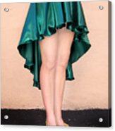 Ameynra Fashion Satin High Low Skirt, Dark-green Acrylic Print