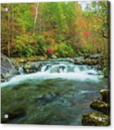 Little Pigeon River Flows In Autumn In The Smoky Mountains Acrylic Print