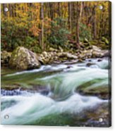 Little Pigeon River In Fall In The Smokies Acrylic Print