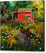 Little Red Flower Shed Acrylic Print