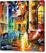 Little Street - Palette Knife Oil Painting On Canvas By Leonid Afremov Acrylic Print