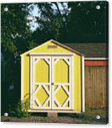 Little Yellow Barn- By Linda Woods Acrylic Print