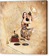 Live Music Pinup Singer Performing On Gig Guide Acrylic Print