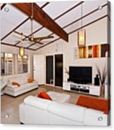 Living Room With Sloping Ceiling Acrylic Print