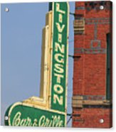 Livingston Bar And Grill Old Neon Sign Montana Acrylic Print