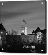 Ljubljana Castle In Black And White Acrylic Print
