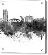 Ljubljana Skyline In Black Watercolor On White Background Acrylic Print