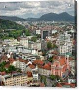 Ljubljana Slovenia With Karawanks, Kamnik Savinja, Limestone Alp Acrylic Print