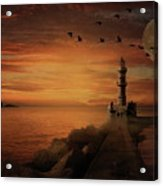 Llight House By Moonlight Acrylic Print