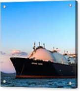 Lng Carrier Grand Aniva At Sunset On The Roads Of The Port Of Nakhodka.  Acrylic Print