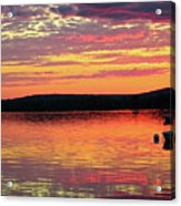 Loan Boat On A River At Sunset Acrylic Print