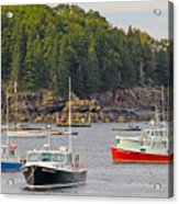 Lobster Boats In Bar Harbor Acrylic Print by Jack Schultz