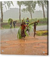 Local People Crossing The Road In Malawi Acrylic Print