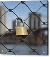 Lock And Bridge  Acrylic Print