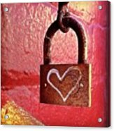 Lock/heart Acrylic Print by Julie Gebhardt