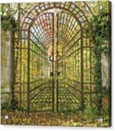 Locked Iron Gate In The Autumn Park.  Acrylic Print