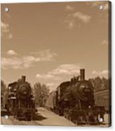 Locomotives In Sepia Acrylic Print