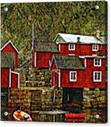 Lofoten Fishing Huts Overlay Version Acrylic Print