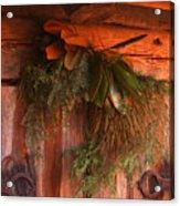 Log Cabin Christmas Decor Acrylic Print