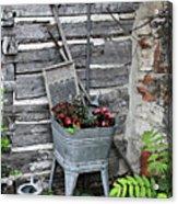 Log Cabin Garden Scene Acrylic Print