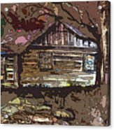 Log Cabin In Autumn Acrylic Print by Mindy Newman