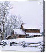 Log Cabin In Snow Acrylic Print