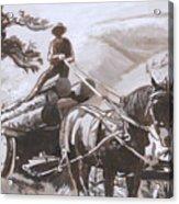 Log Wagon Historical Vignette Acrylic Print