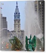 Logan Circle Fountain With City Hall In Backround 2 Acrylic Print